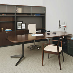 Knoll Life Chair Cream Leather in Office with Krusin Side Chair