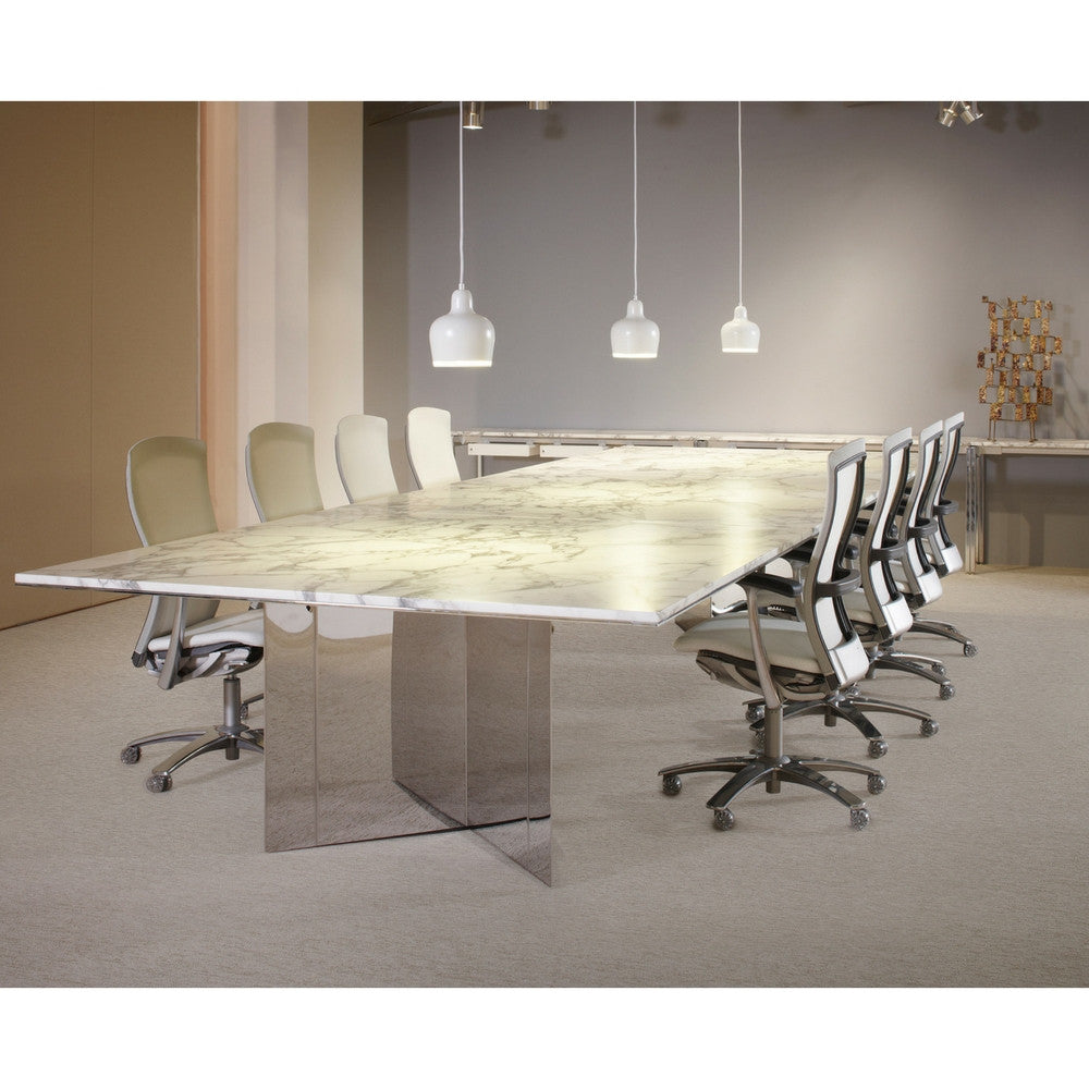 Knoll Life Chairs In Conference Room With Marble Table And Bertoia Sculpture