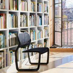 Knoll Marc Newson Aluminum Cantilevered Chair in Library