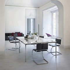 Knoll MR Chairs by Mies van der Rohe in room with Florence Knoll Dining Tables