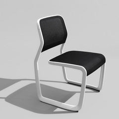Knoll Newson Aluminum Chair White Frame Black Mesh Cantilevered