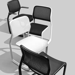 Knoll Newson Aluminum Chairs Black and White in Room