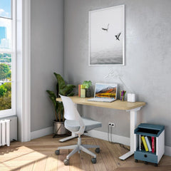Ollo Armless Work Chair with Hipso Sit-Stand Desk by Knoll