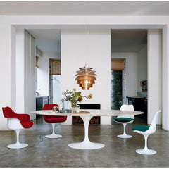Tulip Chairs in Room with Saarinen Oval Marble Table Knoll