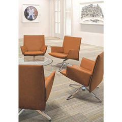 Knoll Pilot Chairs by Barber Osgerby in Lobby with Platner coffee table