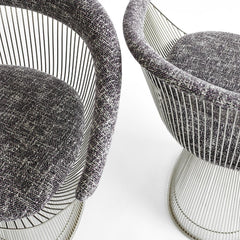 Knoll Platner Arm Chairs Black and White Upholstery Detail