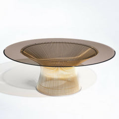 Knoll Platner Coffee Table in Gold with Bronze Glass Top