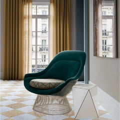 Knoll Platner Easy Chair in room with Washington Prism Side Table by David Adjaye