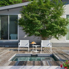Knoll Richard Schultz Lounge Chairs with Saarinen Outdoor Side Table and Petal Table by Pool