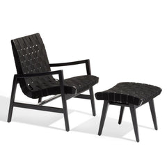 Knoll Risom Lounge Chair and Ottoman All Black