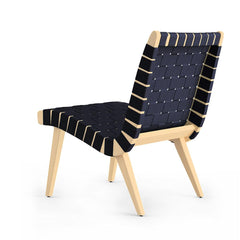 Risom Lounge Chair Navy Cotton Clear Maple Back