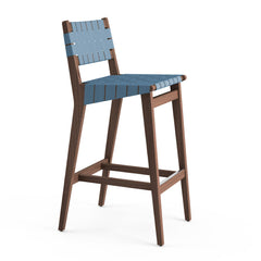 Knoll Risom Barstool with Steel Blue Cotton Webbing, Light Walnut Frame, and Polished Aluminum Footcap
