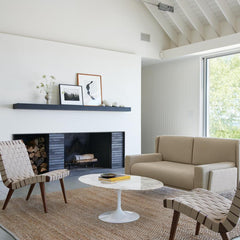 Knoll Jens Risom Lounge Chairs in room with Saarinen Coffee Table