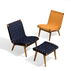Knoll Risom Outdoor Lounge Chairs and Ottoman in Teak