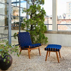 Knoll Risom Outdoor Lounge Chair and Ottoman in Navy Blue Sunbrella with Teak