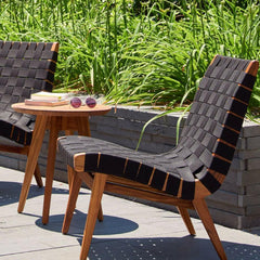 Knoll Risom Teak Outdoor Side Table with Lounge Chair