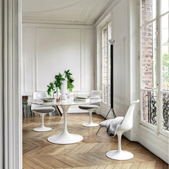 Knoll Saarinen Marble Dining Table in Room with Tulip Chairs