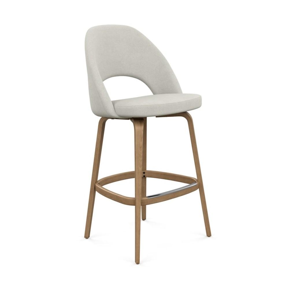 Saarinen Executive Barstool with Crossroad Gravel Fabric and Light Oak Legs and Aluminum Footcap by Knoll