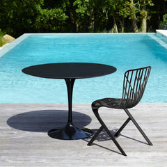 Knoll Saarinen Outdoor Table Black with Slate Top by pool with Adjaye Washington Skeleton Chair