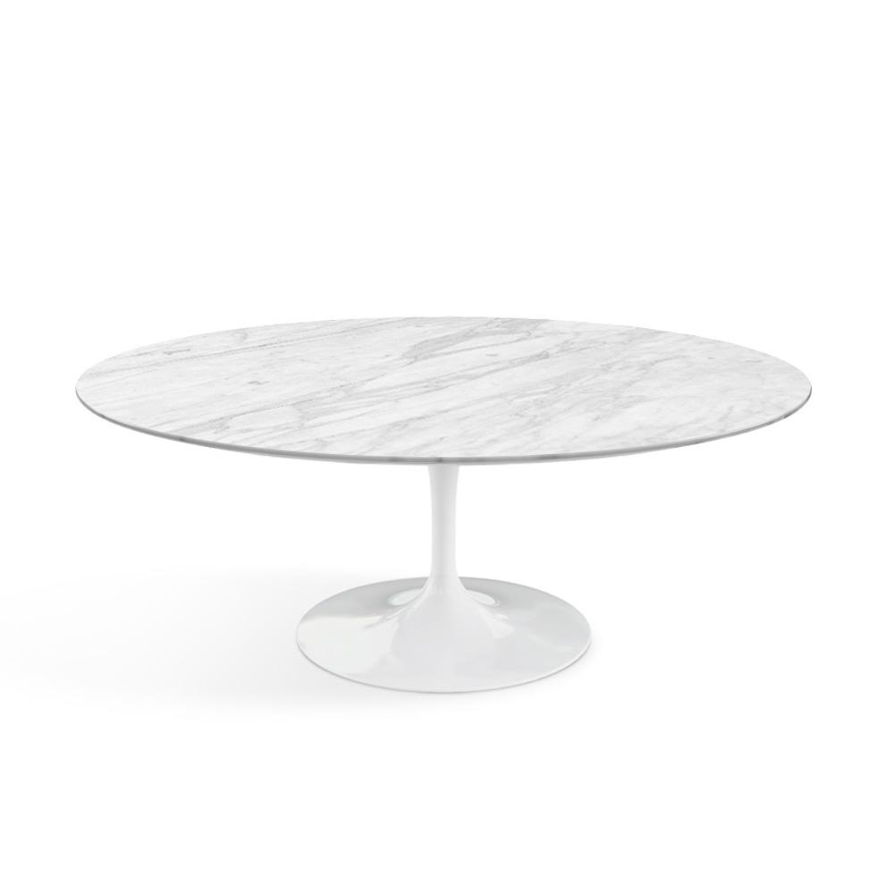 Knoll Saarinen Oval Coffee Table Satin Carrara Marble Finish