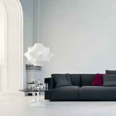 Knoll Saarinen Oval Coffee Table in Room with Barber Osgerby Sofa
