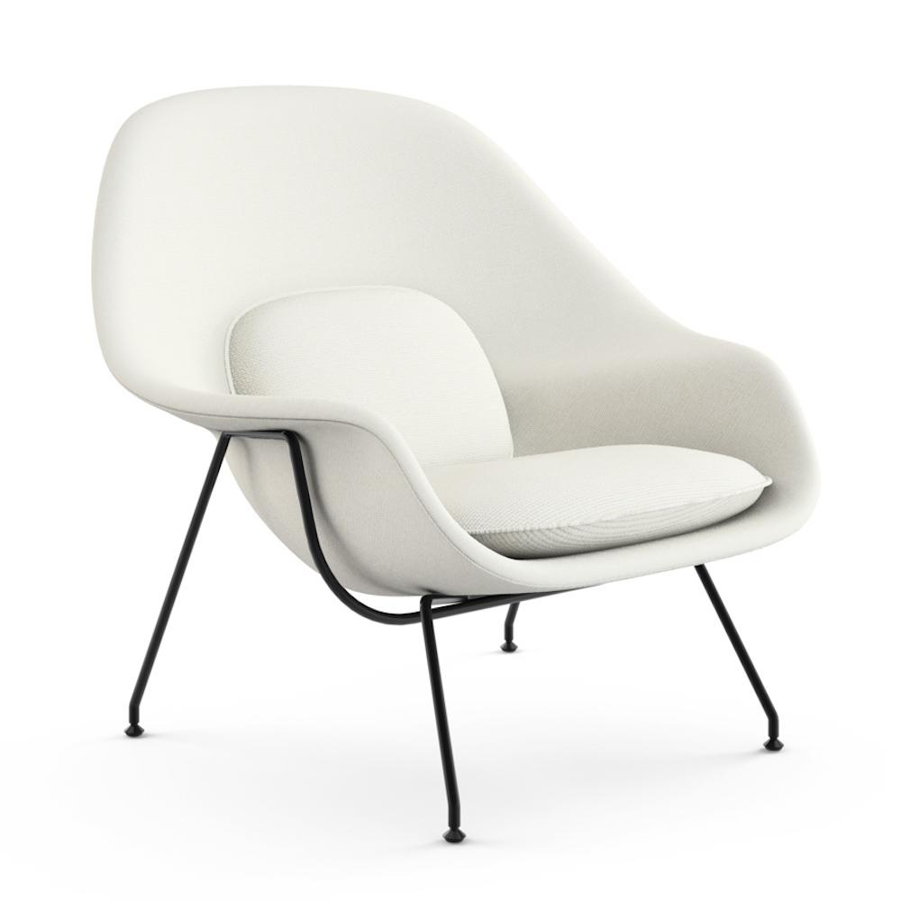 Knoll Saarinen Womb Chiar White Vermeer with Black Base