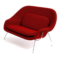 Saarinen Womb Settee in Ita Red by Maria Cornejo for Knoll Luxe