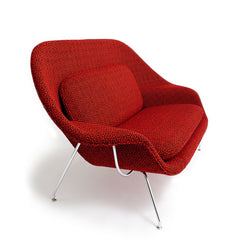 Saarinen Womb Settee in Ita Red by Maria Cornejo for Knoll Luxe Profile View
