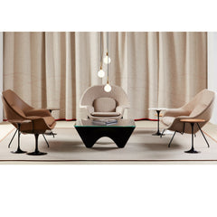 Knoll Saarinen Womb Settees in Room with Washington Aluminum Table and Saarinen Tulip Side Tables