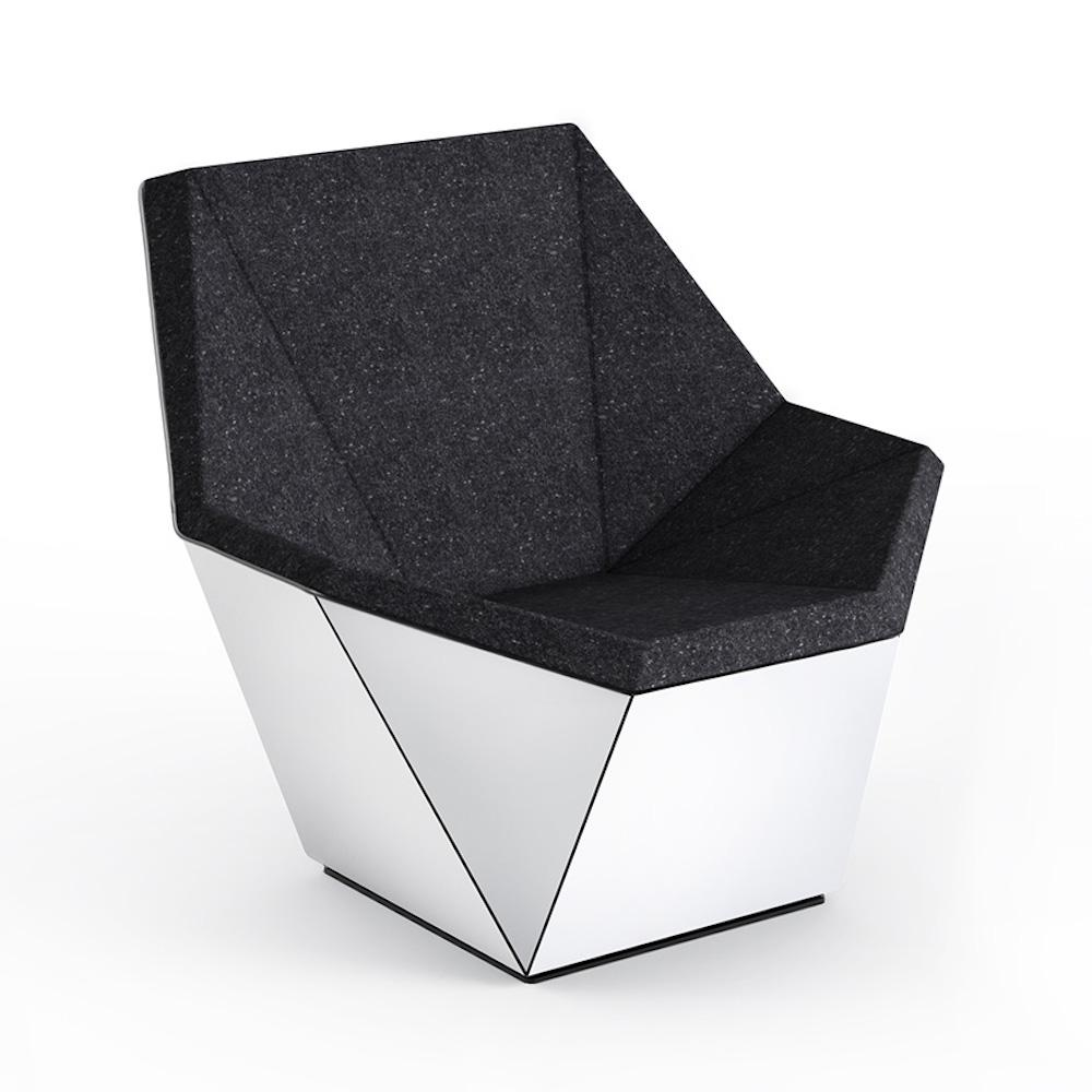 Knoll David Adjaye Washington Prism Chair White Gloss Shell with Onyx Melange Upholstery