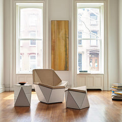 Knoll Washington Prism Chair and Side Tables by David Adjaye in Situ