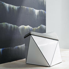 Knoll Washington Prism Ottoman by David Adjaye in room with Cascade Wallcovering