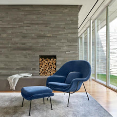 Knoll Womb Chair Blue Velvet in Living Room