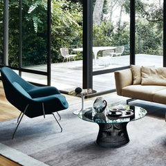 Knoll Womb Chair in living room with Saarinen side table and Platner coffee table