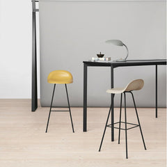 GUBI 3D Barstools in Ventian Gold and White Cloud with the Y! Bar Table