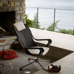 Konstantin Grcic Waver Chair Black with White Cushions on Deck Lake Como Vitra