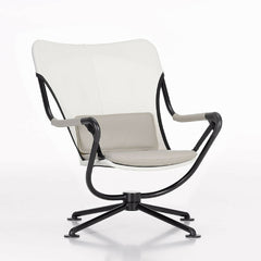 Konstantin Grcic Waver Chair White with Grey Cushions Front Angled Vitra