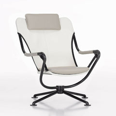 Konstantin Grcic Waver Chair White with Grey Cushions Vitra