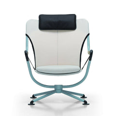 Konstantin Grcic Waver Chair Light Blue Frame White with Black and White Cushions Vitra