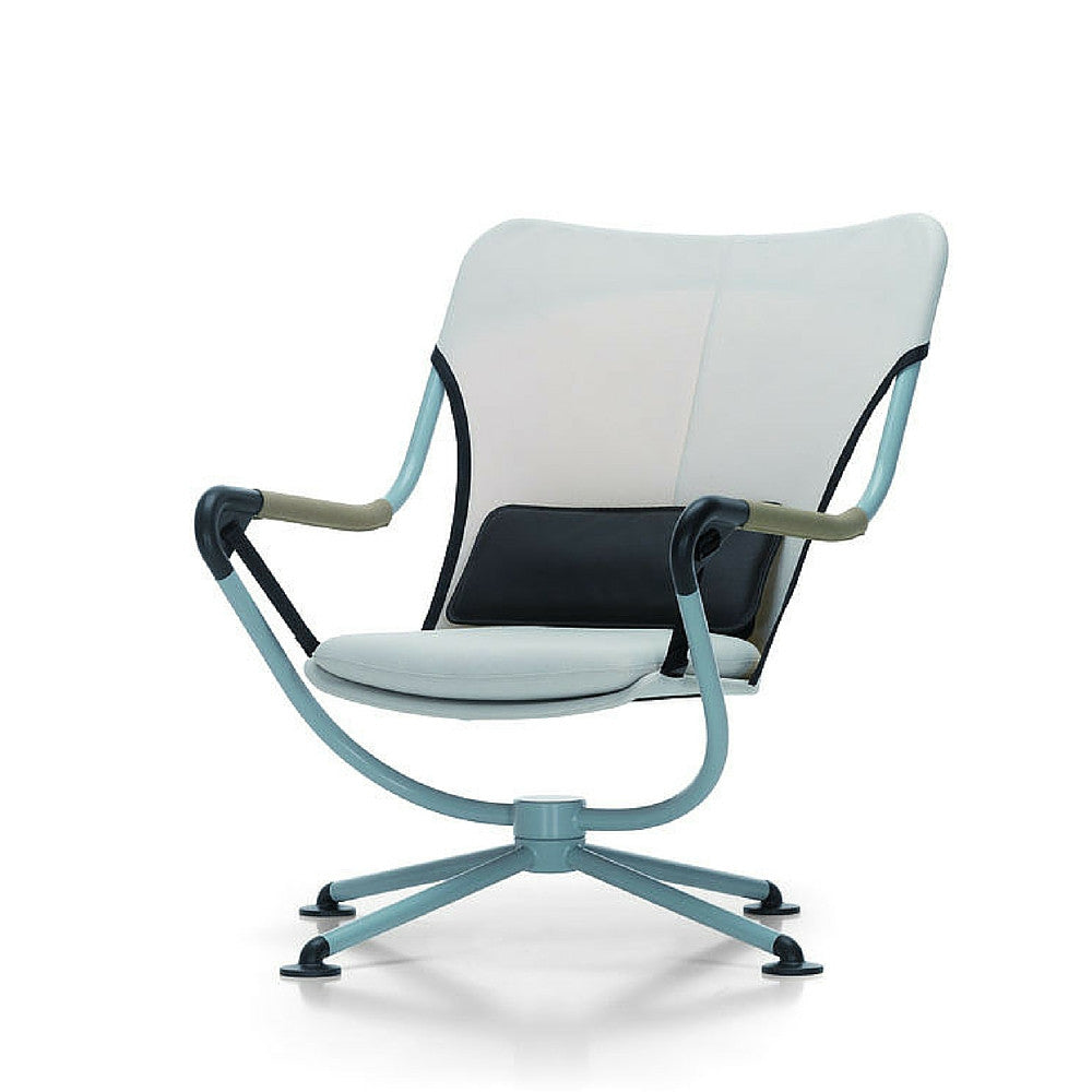 konstantin grcic waver chair light blue frame white with black and white cushions angled vitra - Light Blue Desk Chair