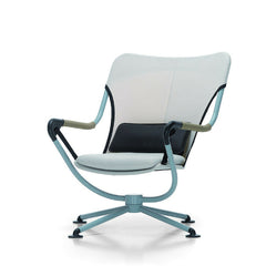 Konstantin Grcic Waver Chair Light Blue Frame White with Black and White Cushions Angled Vitra