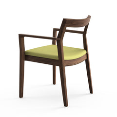 Krusin Arm Chair Walnut with Green Hourglass Olive Seat Back Knoll