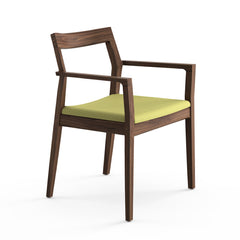 Krusin Arm Chair Walnut with Green Hourglass Olive Seat Knoll