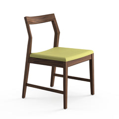 Krusin Side Chair Walnut with Green Hourglass Olive Seat Knoll