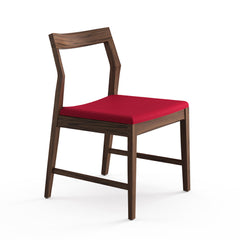 Krusin Side Chair Walnut with Red Hourglass Flame Seat Knoll