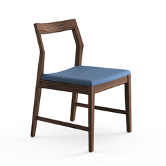 Krusin Side Chair Walnut with Blue Hourglass Indigo Seat Knoll