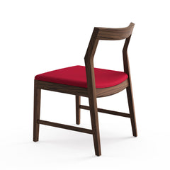 Krusin Side Chair Walnut with Red Hourglass Flame Seat Back Knoll