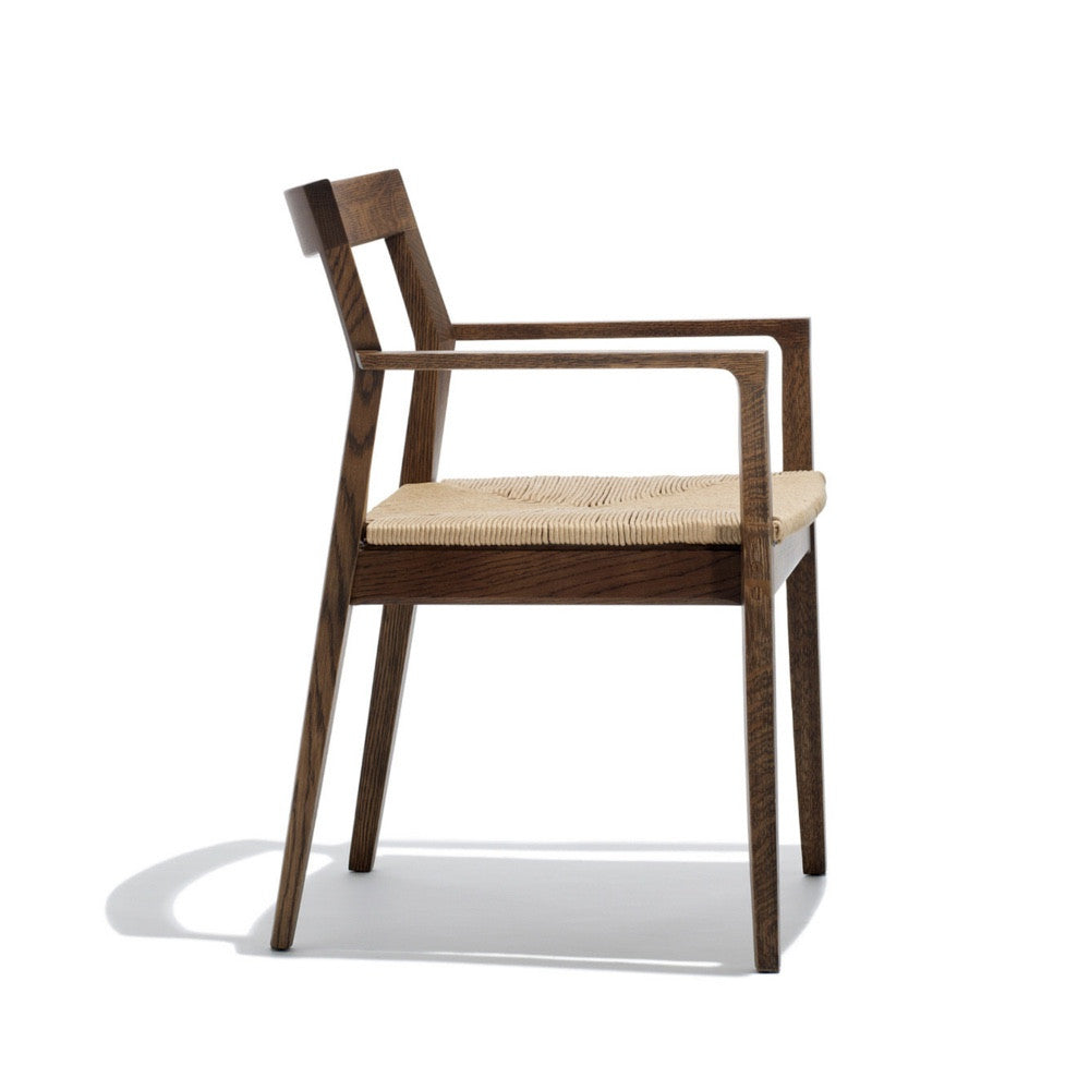 Krusin Arm Chair Walnut With Woven Paper Rush Seat Side Knoll