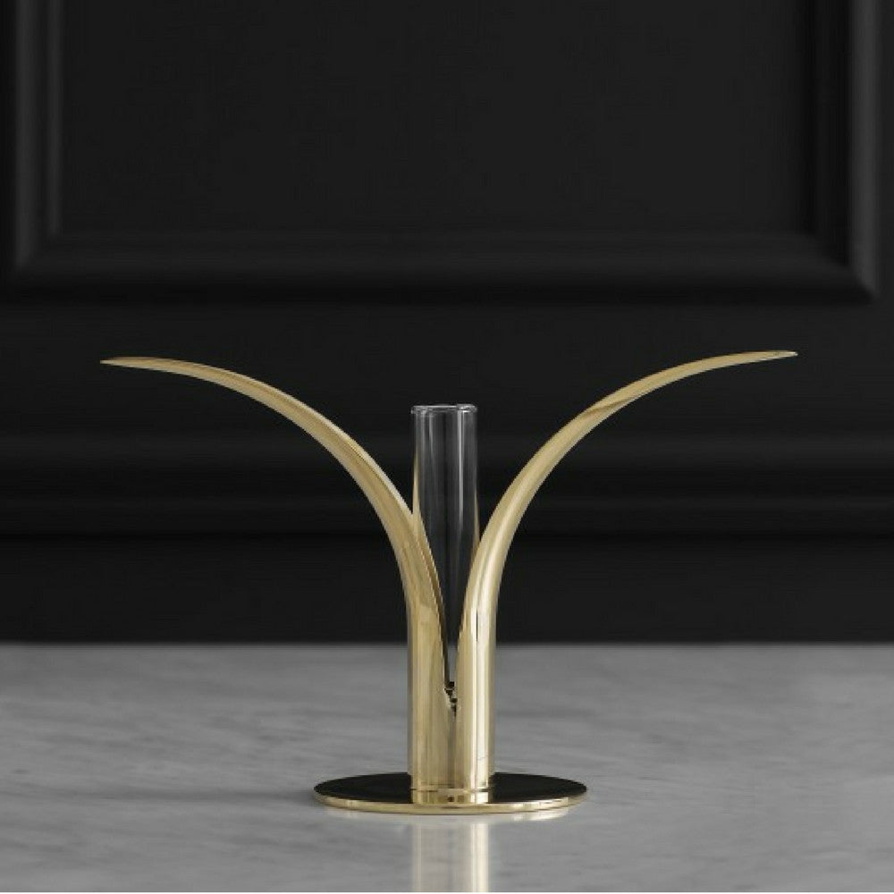 Skultuna Brass Lily Candlestick by Ivar Ålenius Björk with Glass Vase
