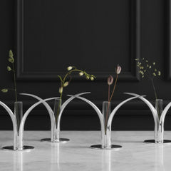 Skultuna Silver Lily Candlesticks by Ivar Ålenius Björk with Glass Vases and Flowers